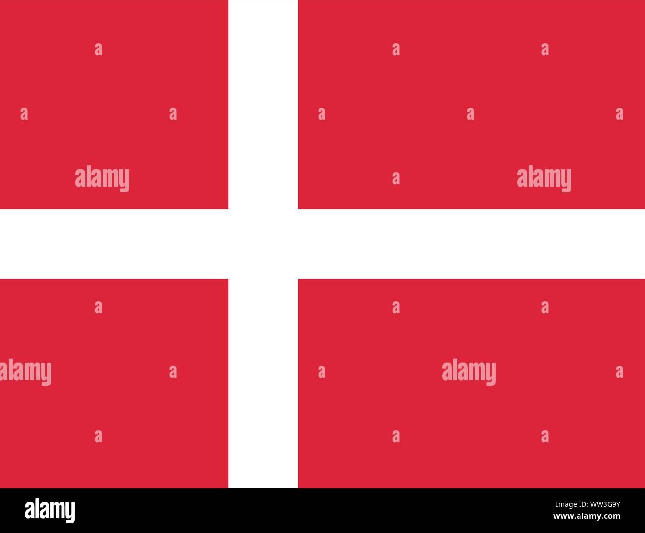 La bandera de Dinamarca. Banner con un blanco en la cruz roja. Copenhague. Escandinavia Ilustración del Vector
