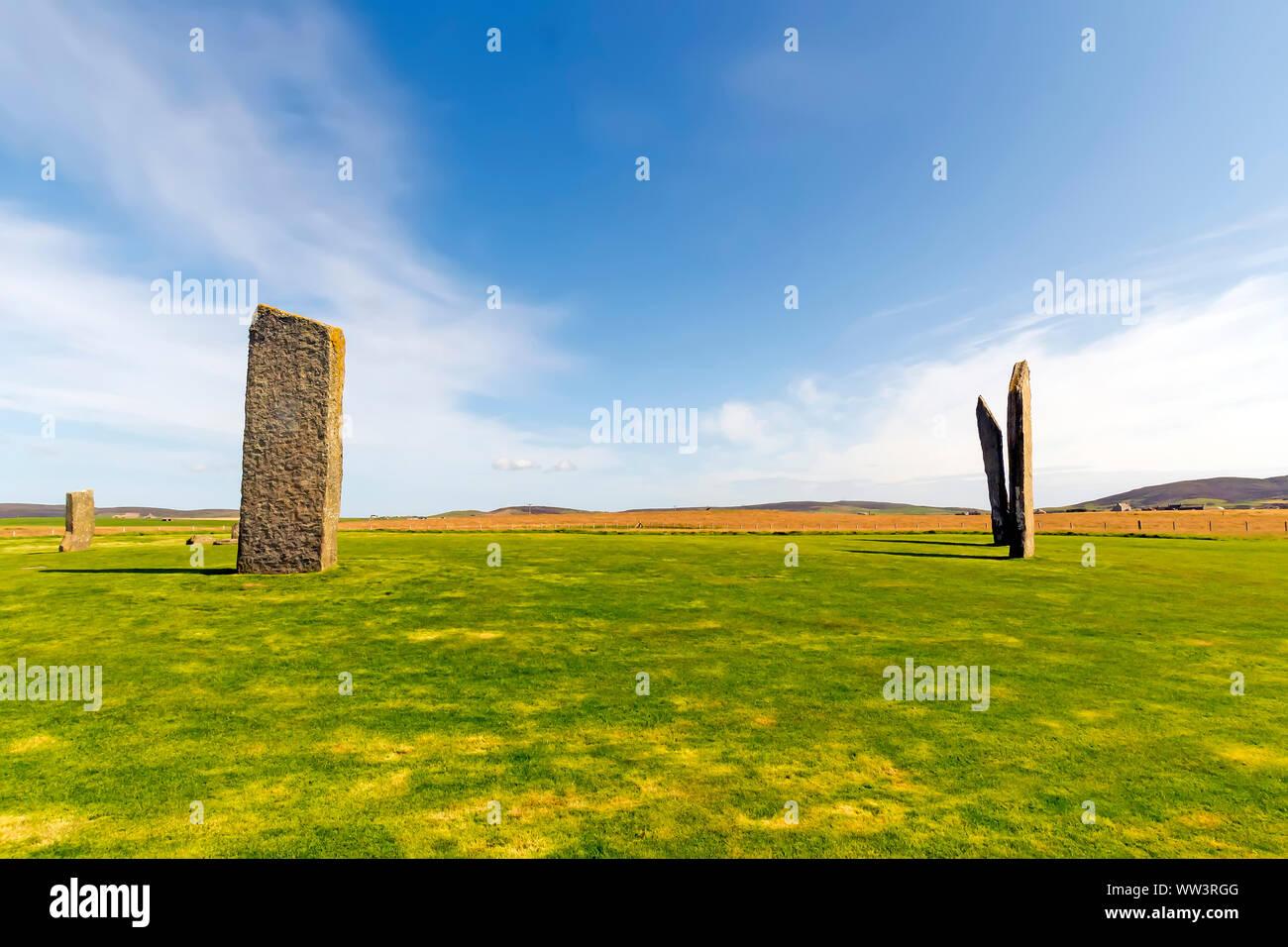 Piedras de Stenness data de al menos 3100BC y forman parte de la Heart of Neolithic Orkney Sitio de Patrimonio Mundial de la UNESCO, Escocia Foto de stock