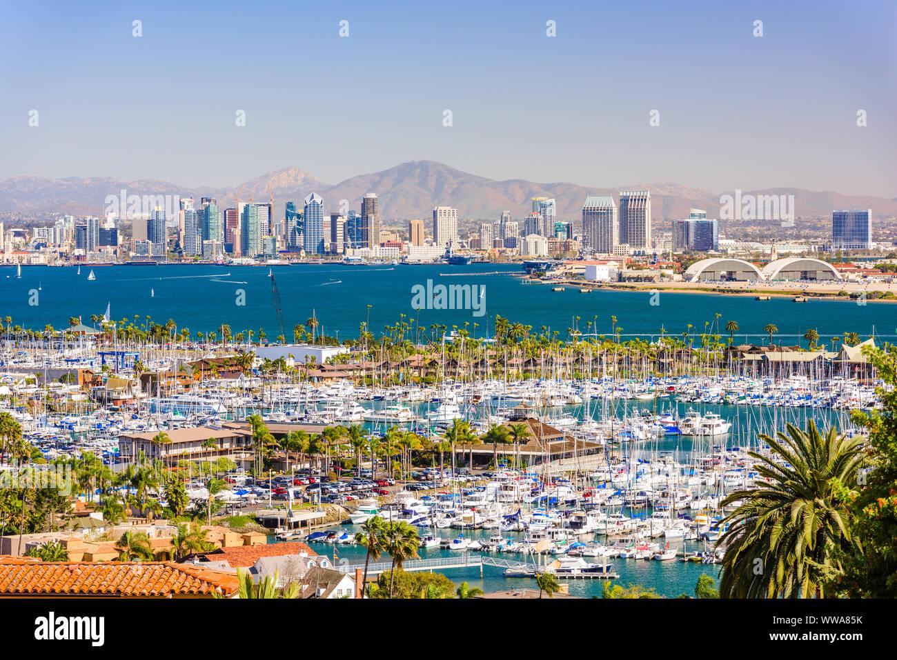 San Diego, California, EE.UU., ciudad sobre la bahía. Foto de stock
