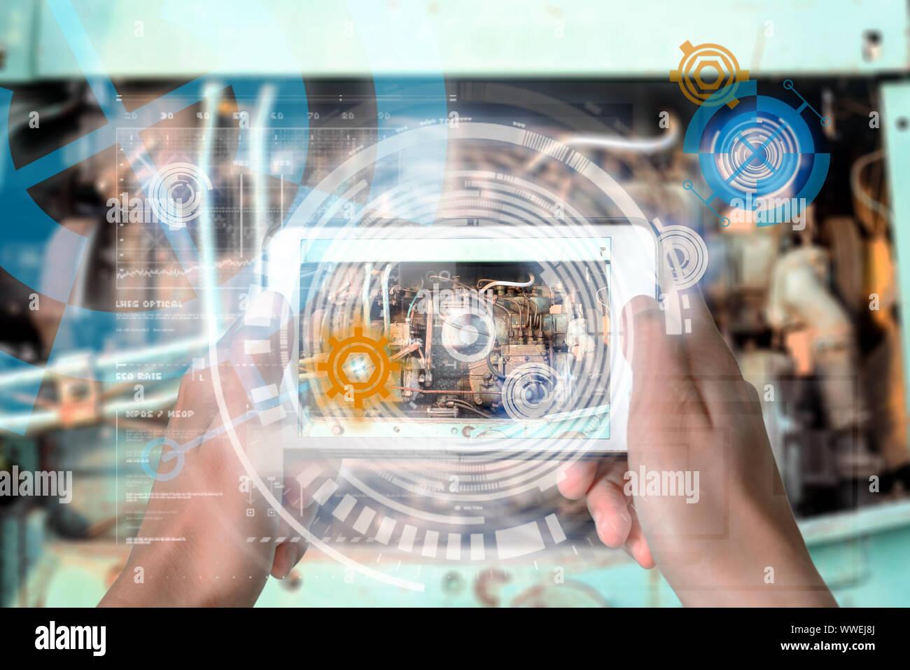 Dispositivo de realidad aumentada mediante tecnología inteligente, mezcla de realidad virtual y aumento a través de la aplicación de la inteligencia artificial y comput Foto de stock