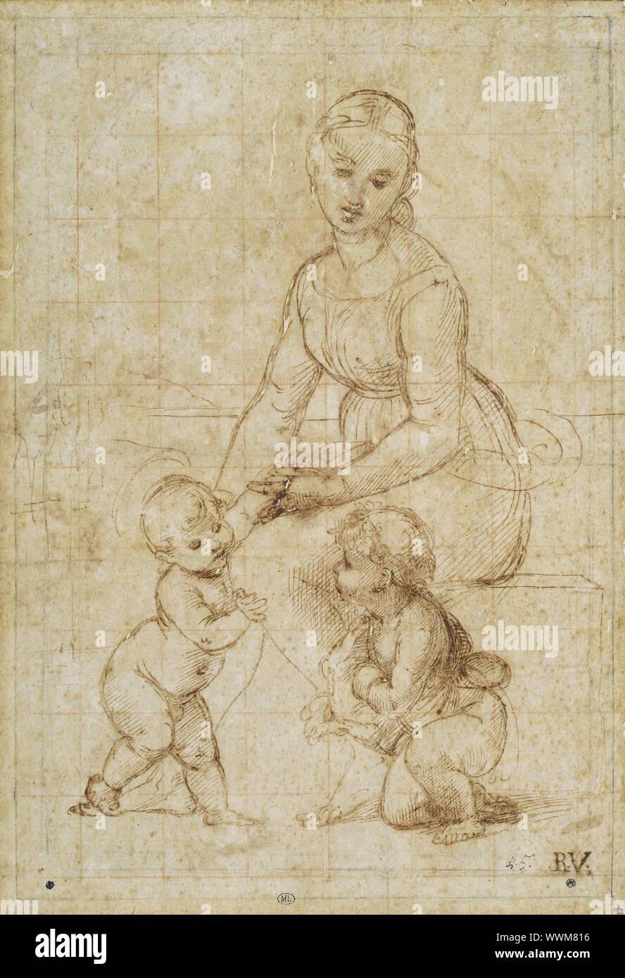 Estudio para la belle jardinière, ca 1506-1507. Encontrado en la colección de Musée du Louvre, Paris. Foto de stock