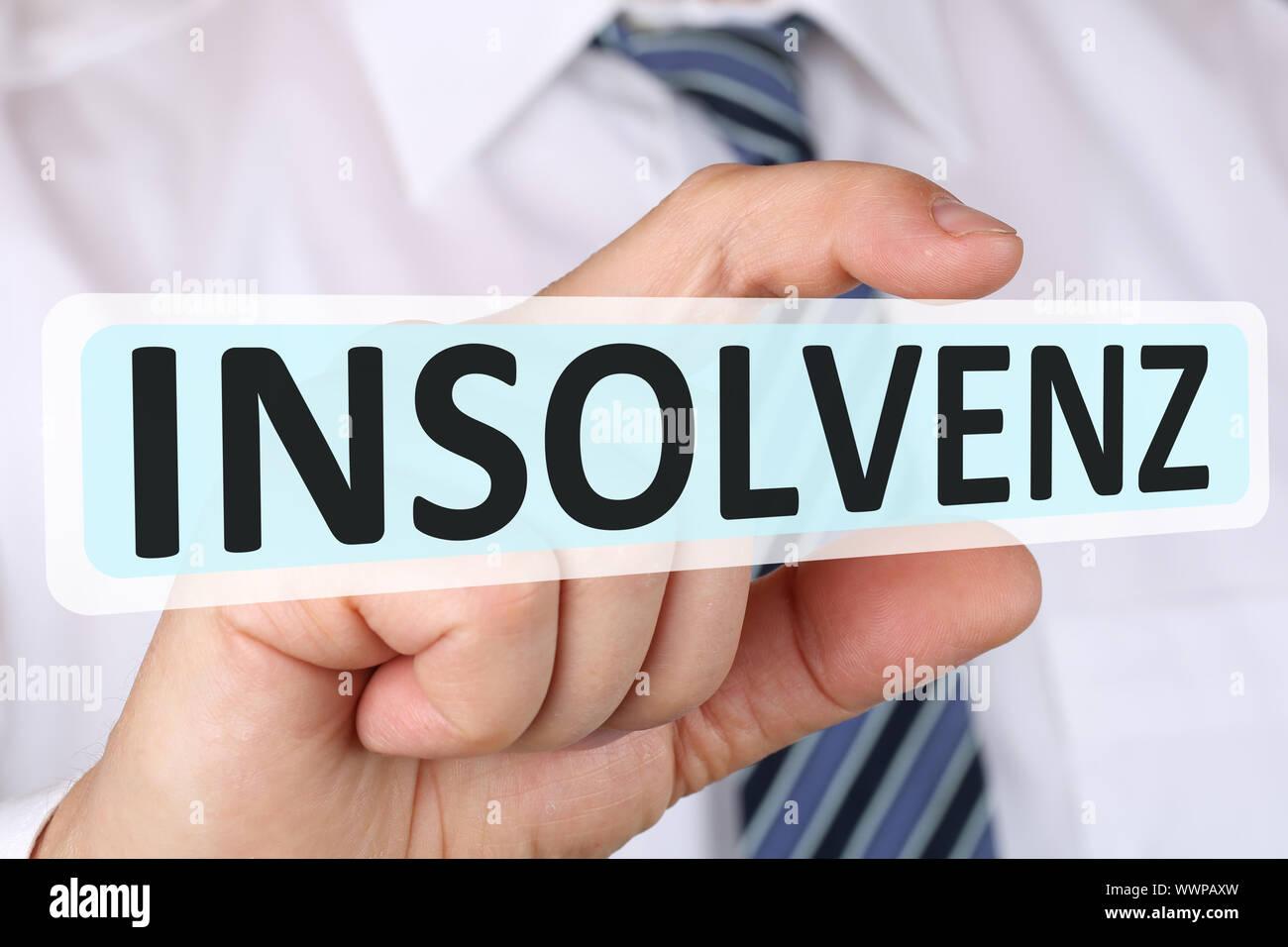 Concepto de hombre de negocios con crisis de insolvencia quiebra insolvente Foto de stock