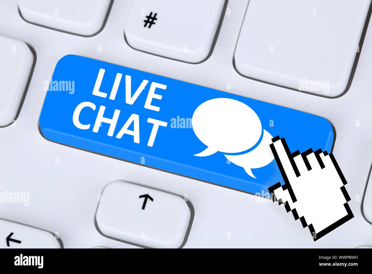 Chat en vivo Contacto Servicio de Comunicación de mensajes de chat Foto de stock