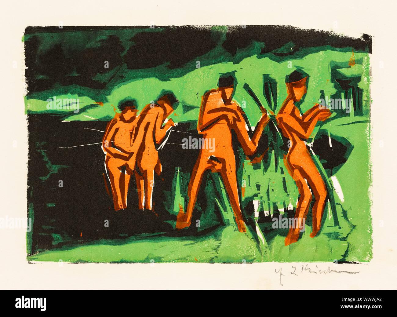 Ernst Ludwig Kirchner, bañistas arrojando Juncos, xilografía, 1909. impresión Foto de stock