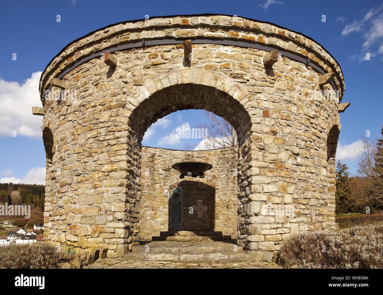 War Memorial Dahle, Altena, Sauerland, Renania del Norte-Westfalia, Alemania, Europa Foto de stock
