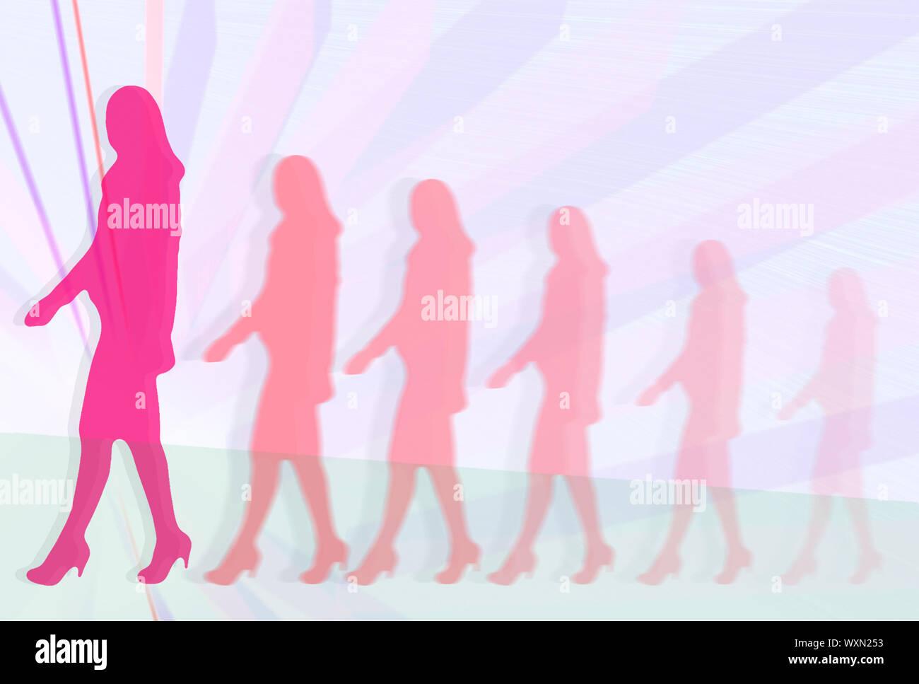 Mujer de desarrollo de carrera. Siluetas de mujeres empresarias en trajes caminando delante de fondo lineal abstracto Foto de stock