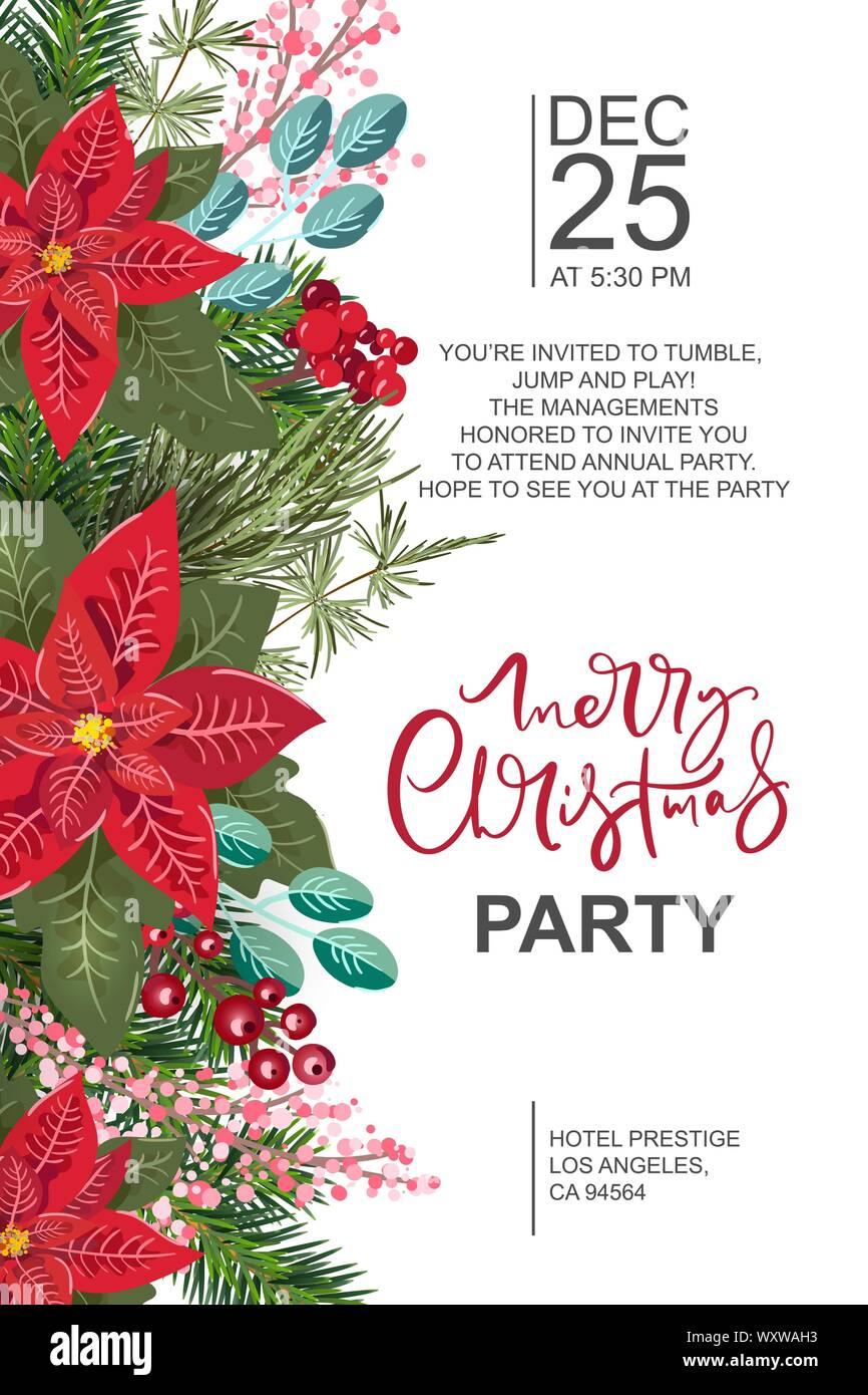Invitación A Fiesta Feliz Navidad Y Feliz Año Nuevo Tarjeta