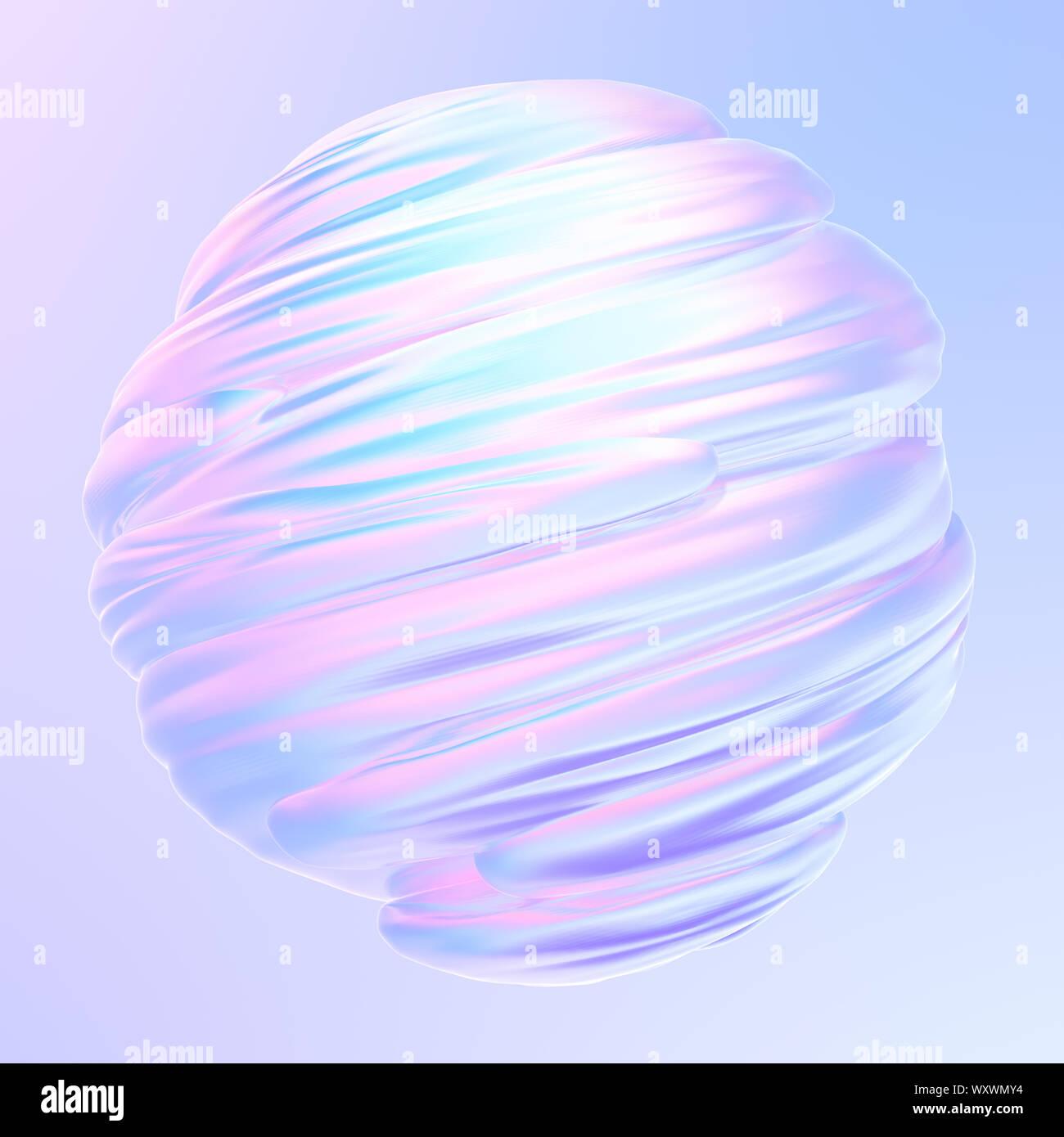 Trenzado líquido forma 3D holográfica. El líquido elemento de diseño. Resumen Antecedentes holográfico. 3D rendering. Foto de stock