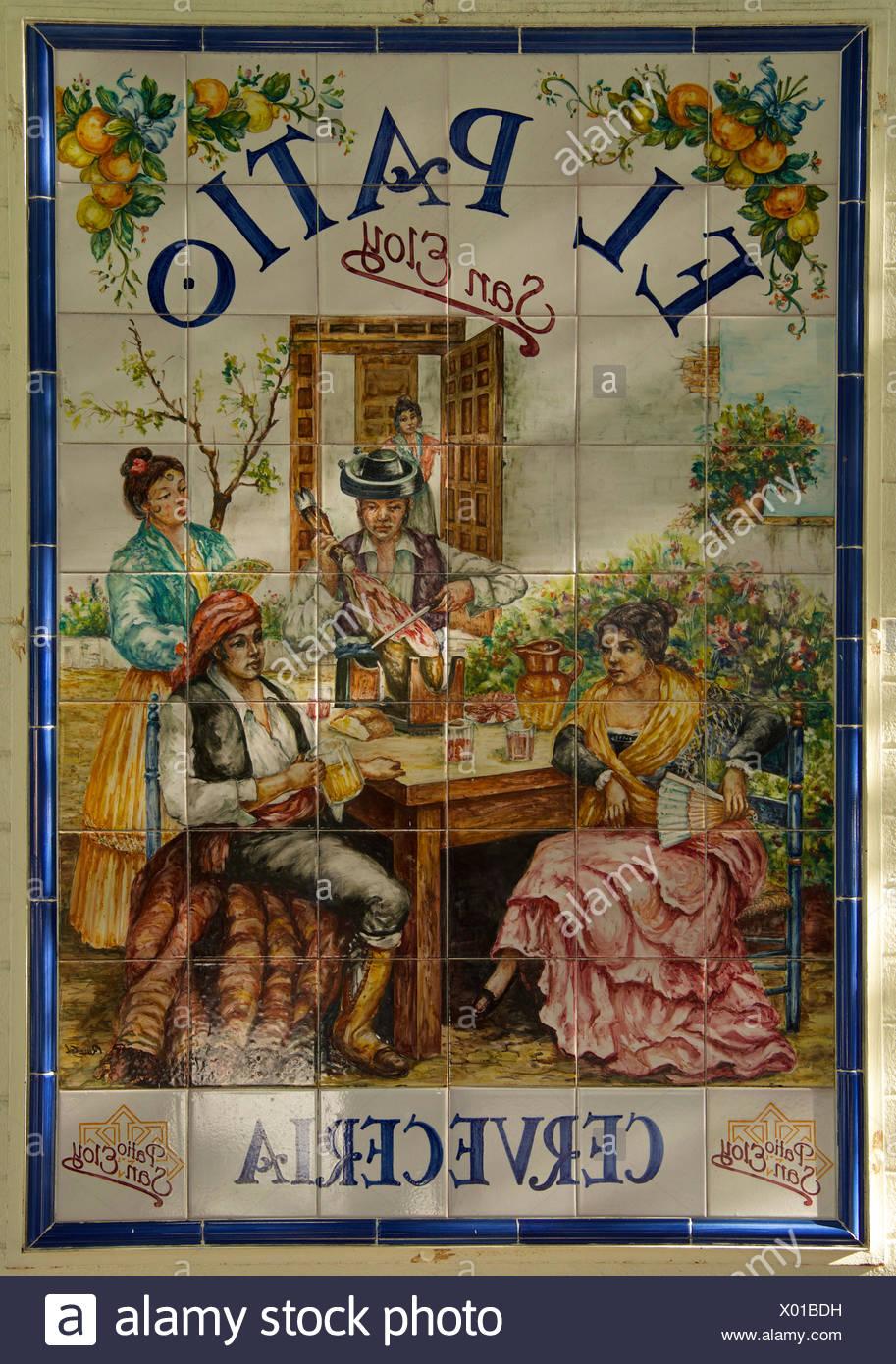 Andalucía, España, Europa, exterior, día, azulejos, baldosas, tradicional, Sevilla, detalle, nadie, formato vertical Imagen De Stock
