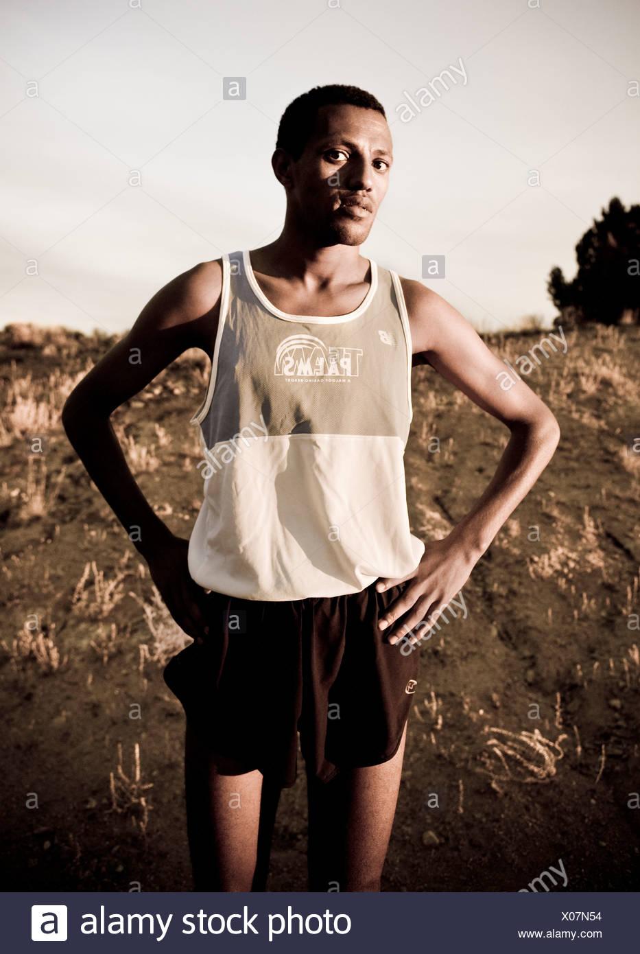 Retrato de un corredor de maratón Imagen De Stock
