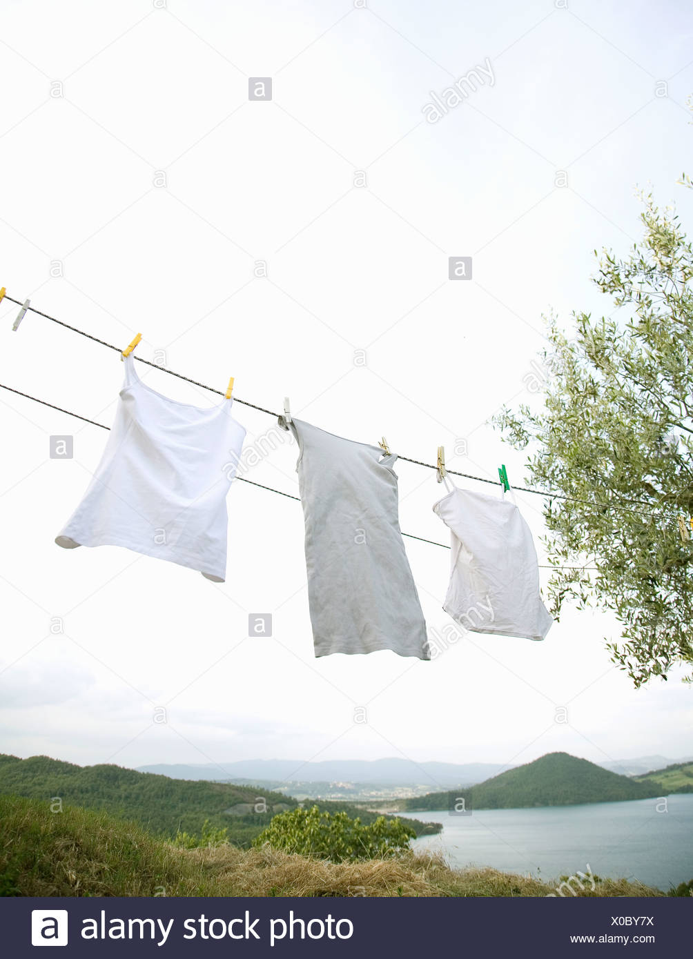 Lavado blanco colgando en la línea Imagen De Stock