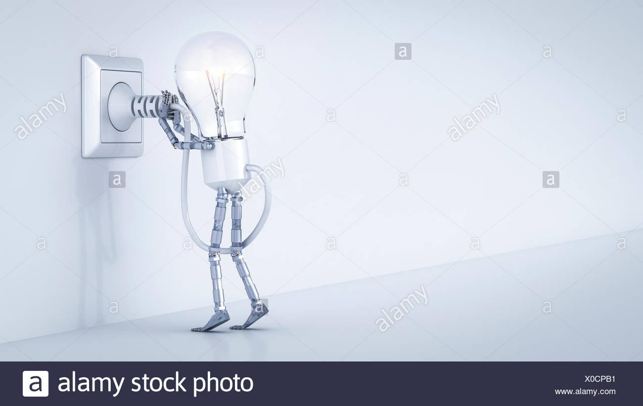La bombilla eléctrica maniquí poner el tapón en el zócalo Imagen De Stock