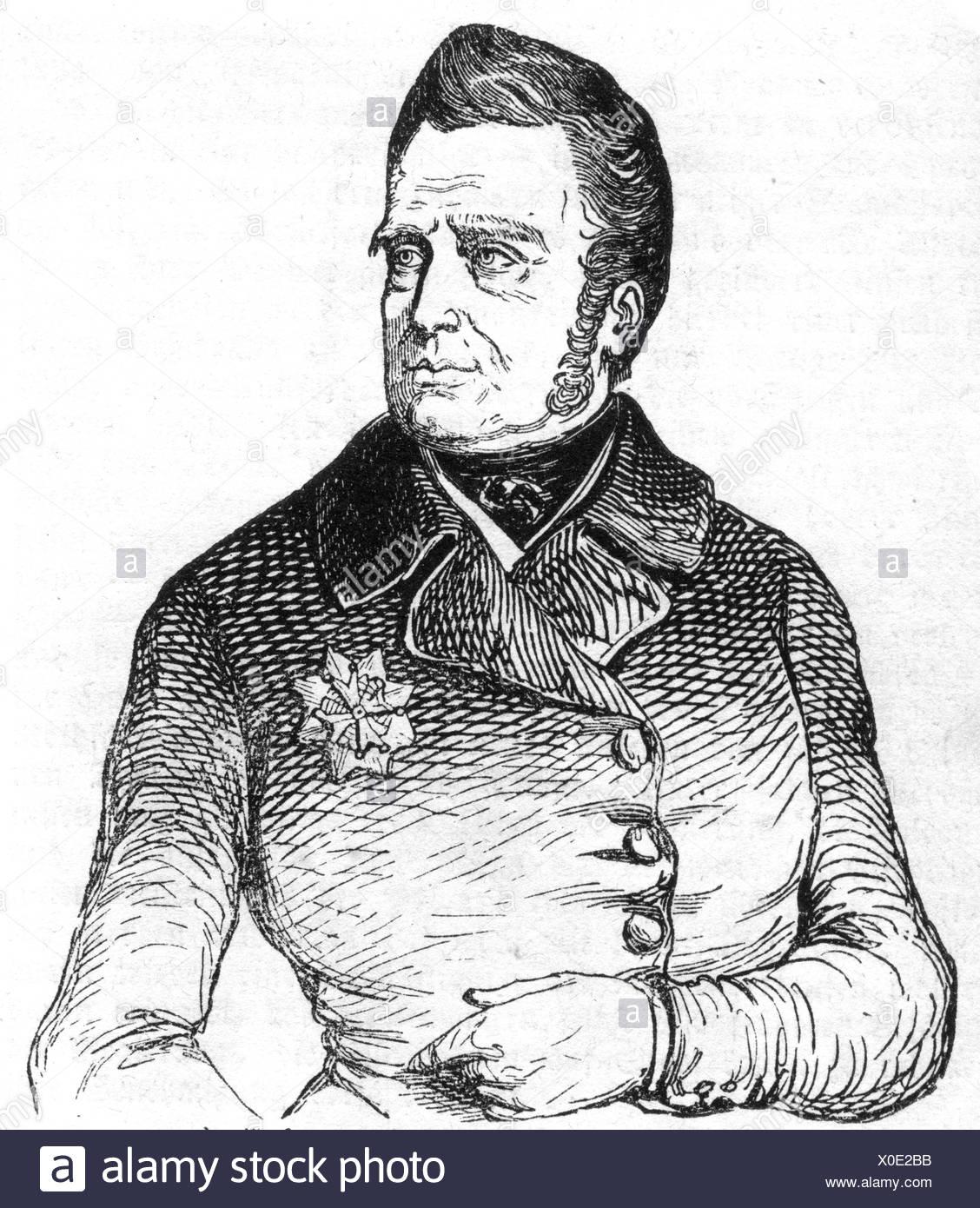 Guillermo I, 24.8.1772 - 12.12.1843, Rey de los Países Bajos 16.3.1814 - 7.10.1840, de longitud media, grabado, 1844, , Additional-Rights-juegos-NA Imagen De Stock