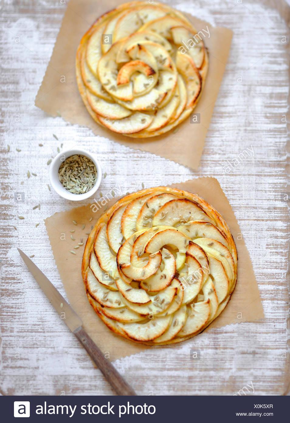 Apple y anís tartas de pastelería fina Imagen De Stock