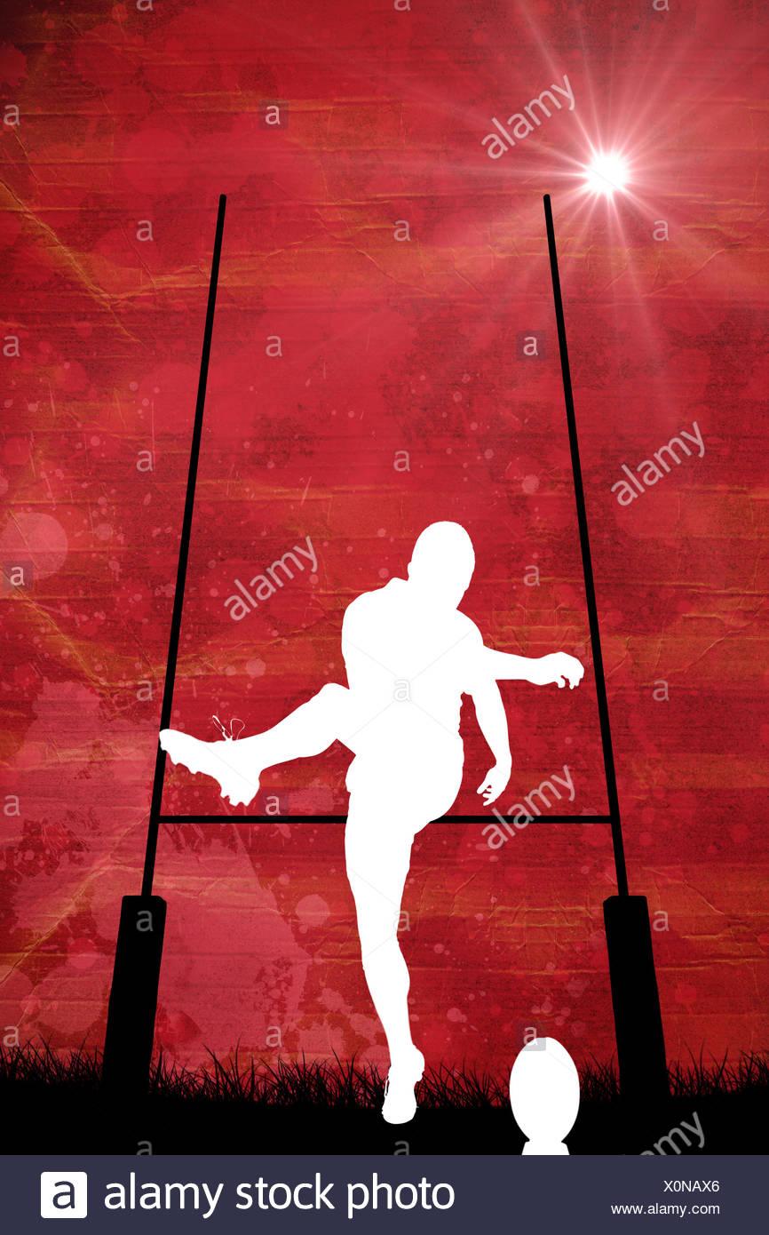 Imagen compuesta de silueta de jugador de rugby Imagen De Stock