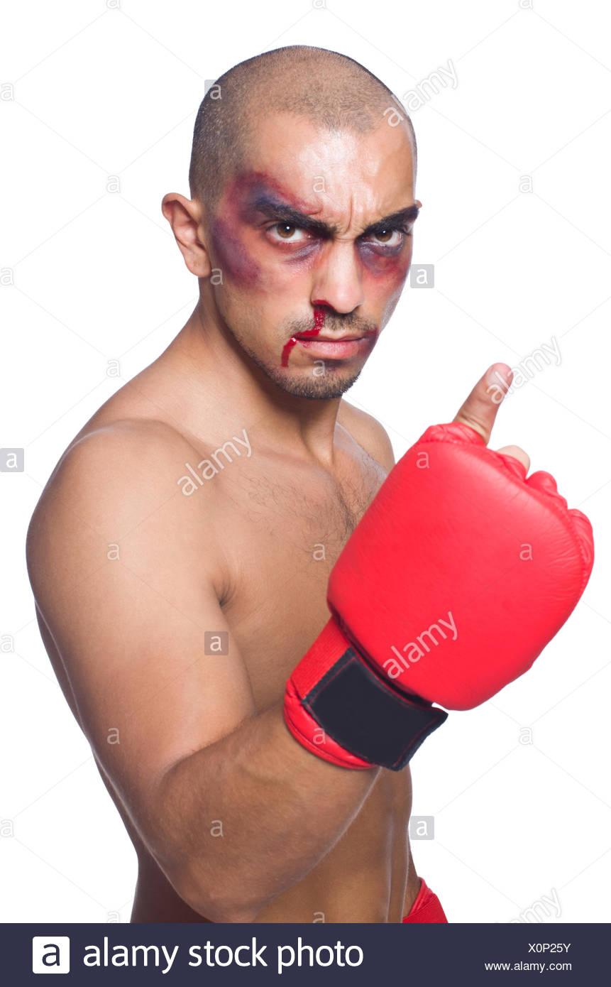 Golpeado boxeador aislado en blanco Imagen De Stock