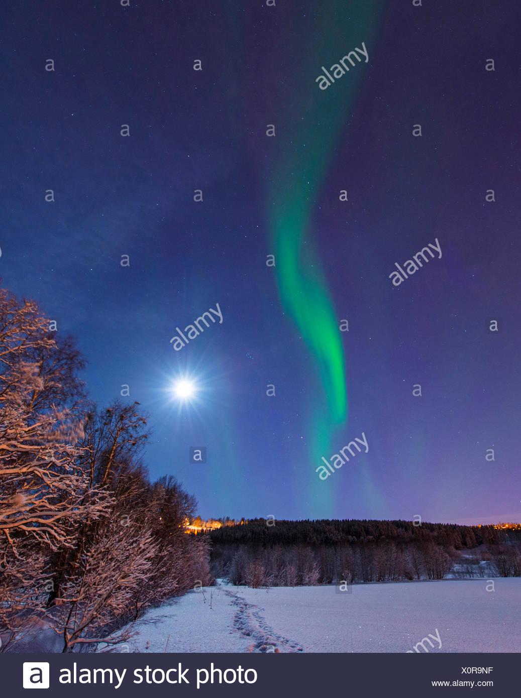 Aurora y lunar sobre paisaje invernal, Noruega Troms, Tromsoe Imagen De Stock