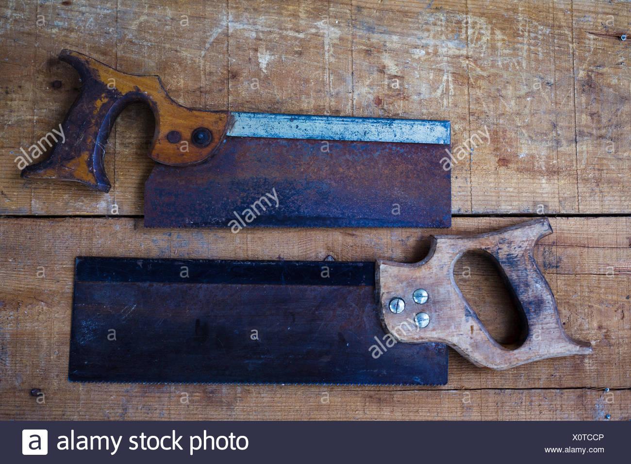 Directamente encima de la vista de las herramientas de la Carpintería Old-Fashioned Imagen De Stock