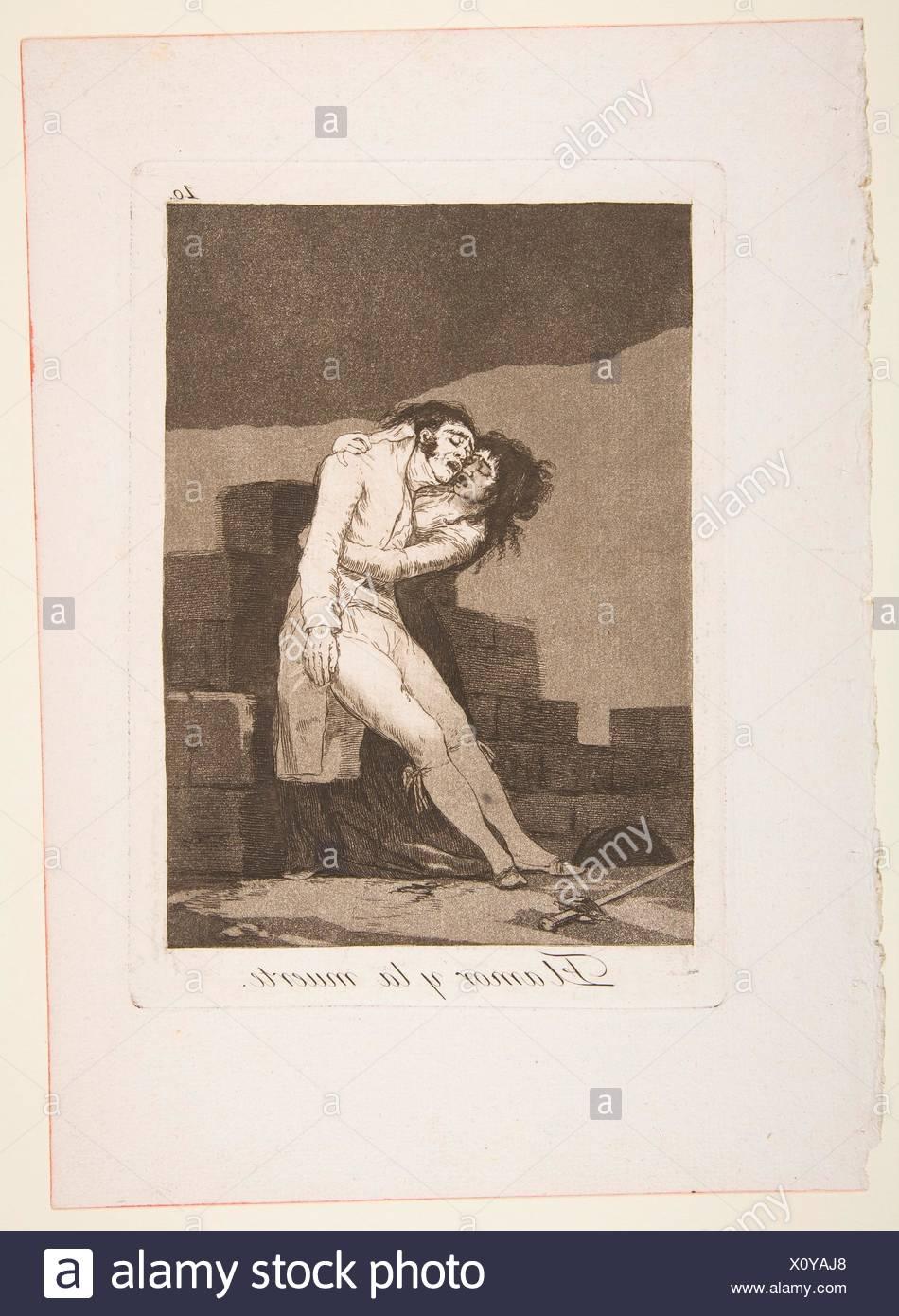 Placa a 10 de 'Los Caprichos': el amor y la muerte (El amor y la muerte). Series/cartera: Los Caprichos; Artista: Goya (Francisco de Goya y Lucientes) Imagen De Stock