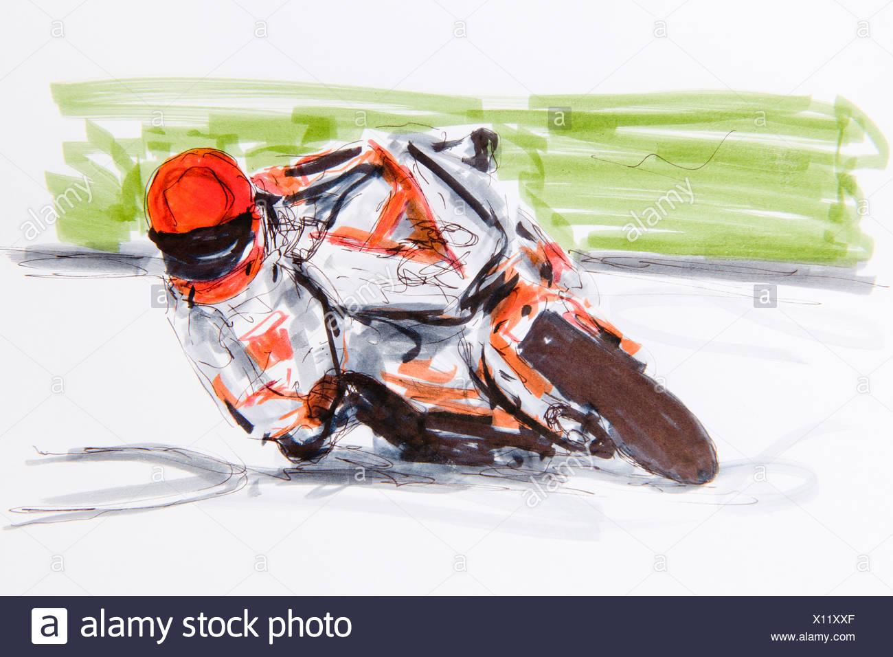 Carrera De Motos Dibujo Del Artista Gerhard Kraus Kriftel
