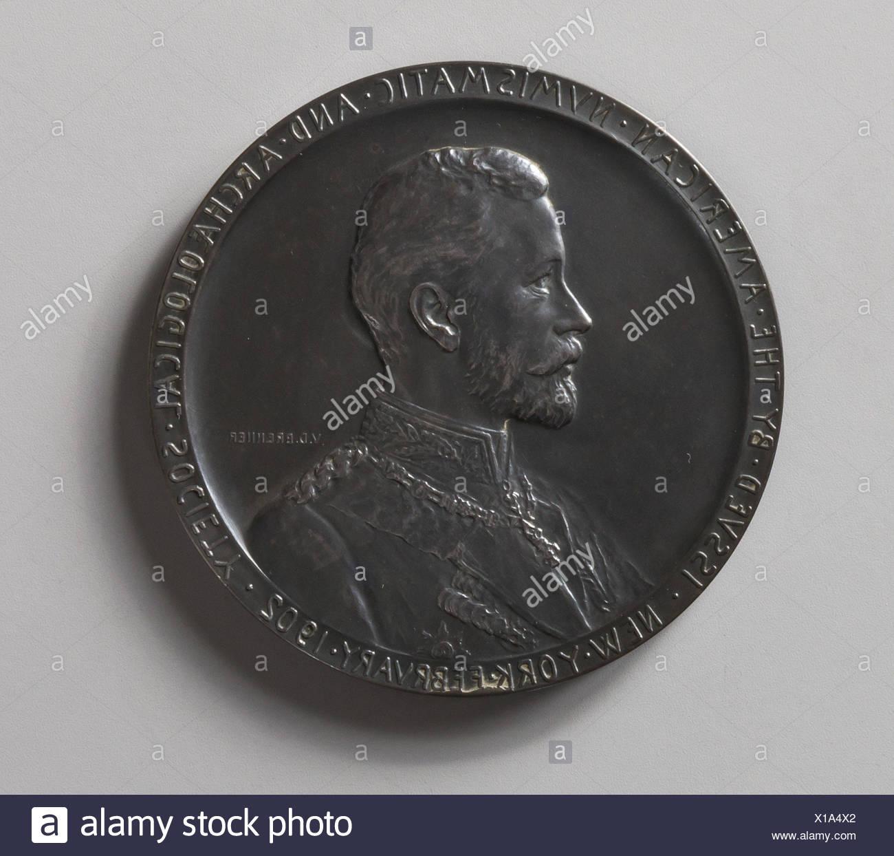El Príncipe Enrique de Prusia. Artista: Victor David Brenner (American (nacido en Kaunas, Lituania), Nueva York, 1871-1924); Fecha: 1902; Medio: Plata; Dimensiones: Foto de stock