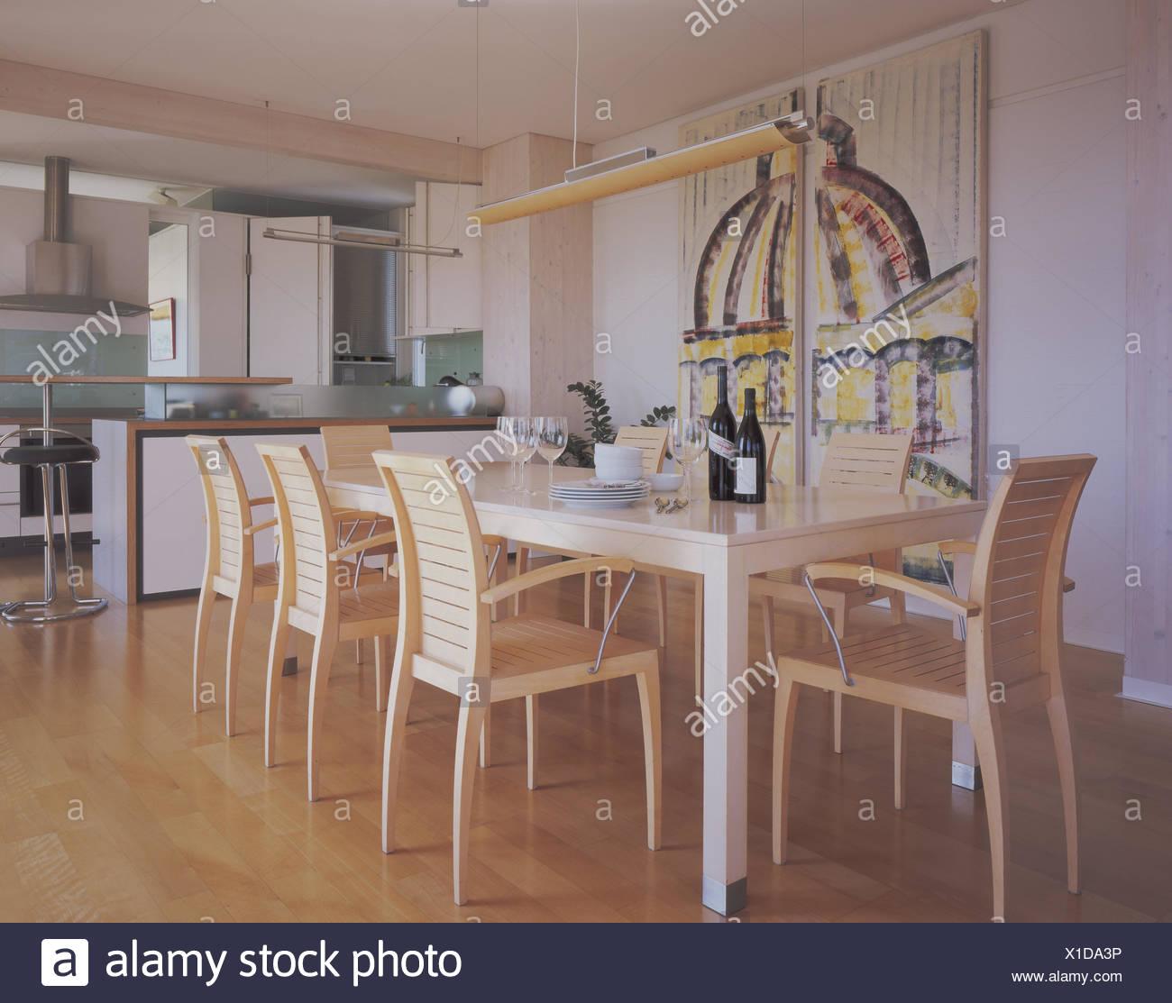 Comedores, mesa, sillas, generosamente, zona de comedor, ambiente ...