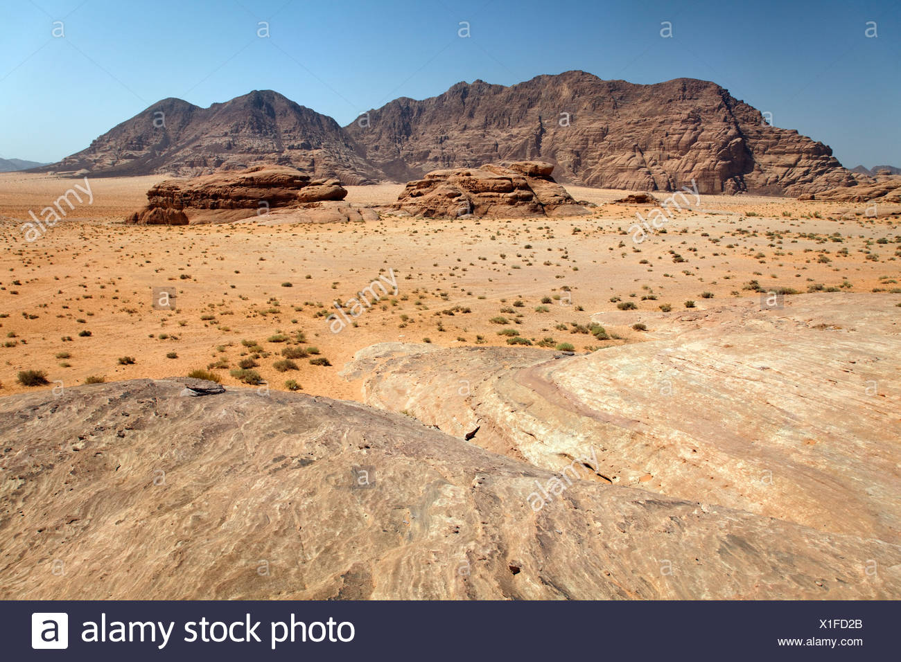 Amplia llanura, desiertos, montañas, Wadi Rum, Reino Hachemita de Jordania, Oriente Medio, Asia Foto de stock