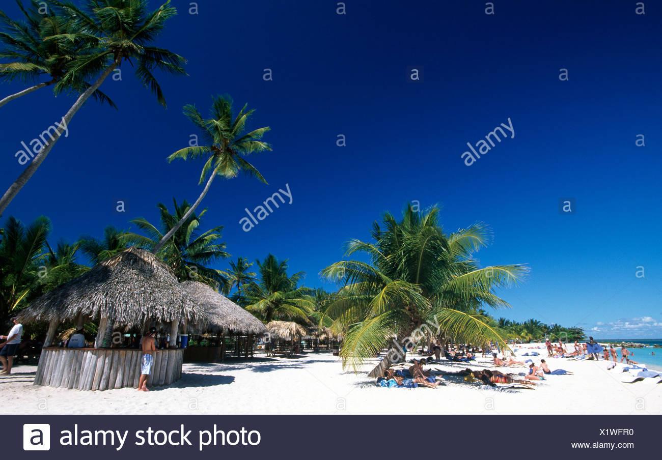Playa Bonita en la Isla Saona, Parque Nacional del Este, República Dominicana, El Caribe Imagen De Stock