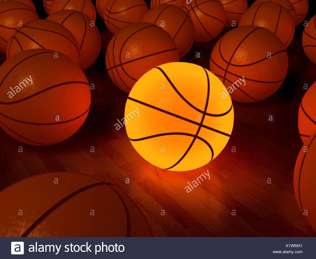 Resplandor de baloncesto juego de pelota sobre el piso de madera (3D) Imagen De Stock