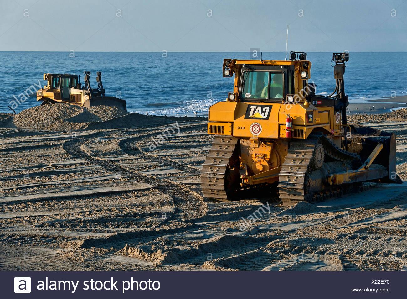 Reconstrucción de playas erosionadas, nags head, Outer Banks, Carolina del Norte, EE.UU. Imagen De Stock