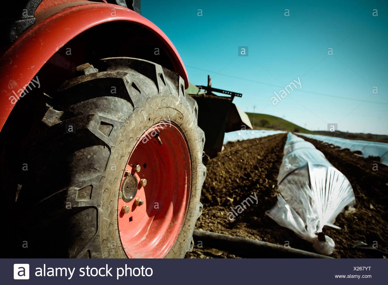 Tractor en tierra cultivada Foto de stock