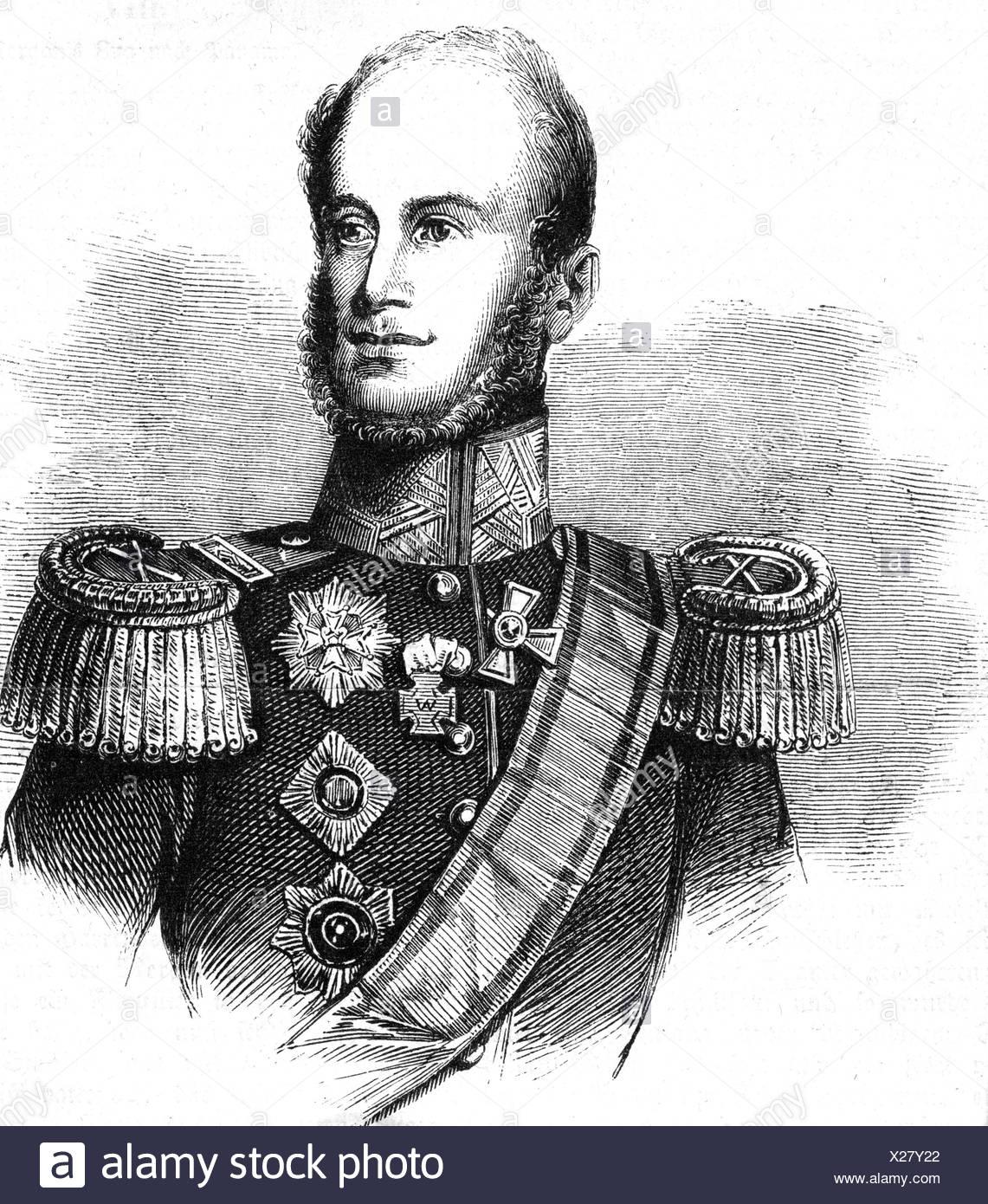 Guillermo I, 24.8.1772 - 12.12.1843, Rey de los Países Bajos 16.3.1814 - 7.10.1840, retrato, grabado, del siglo xix, , Additional-Rights-juegos-NA Imagen De Stock