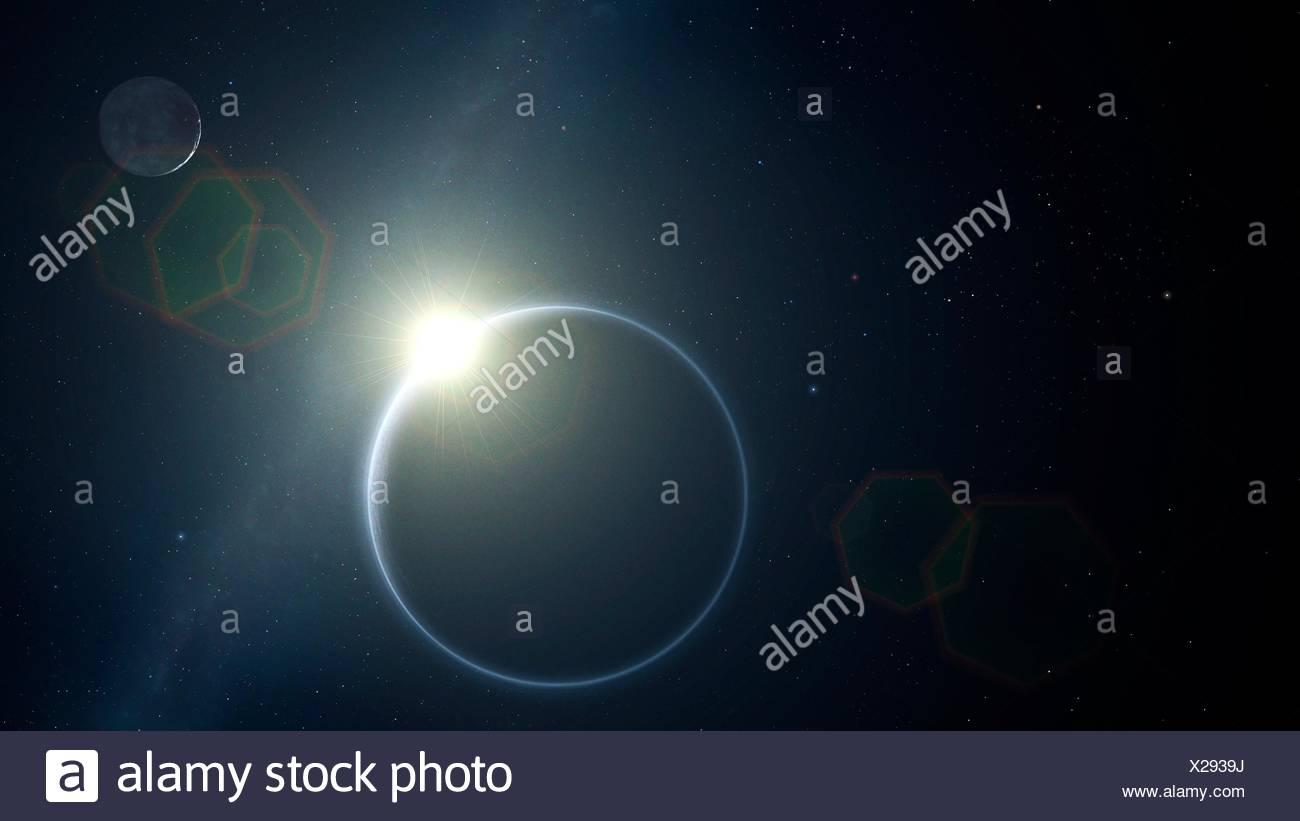 En 2015, la sonda de la nasa New Horizons finalmente llegó a Plutón después de una década de largo vuelo. A medida que la sonda pasa el planeta enano, miró hacia el sol y fotografió Plutón con sus escasos atmósfera iluminada por el sol detrás de ella. Esta imagen muestra la escena, con charon en la parte superior derecha. Imagen De Stock