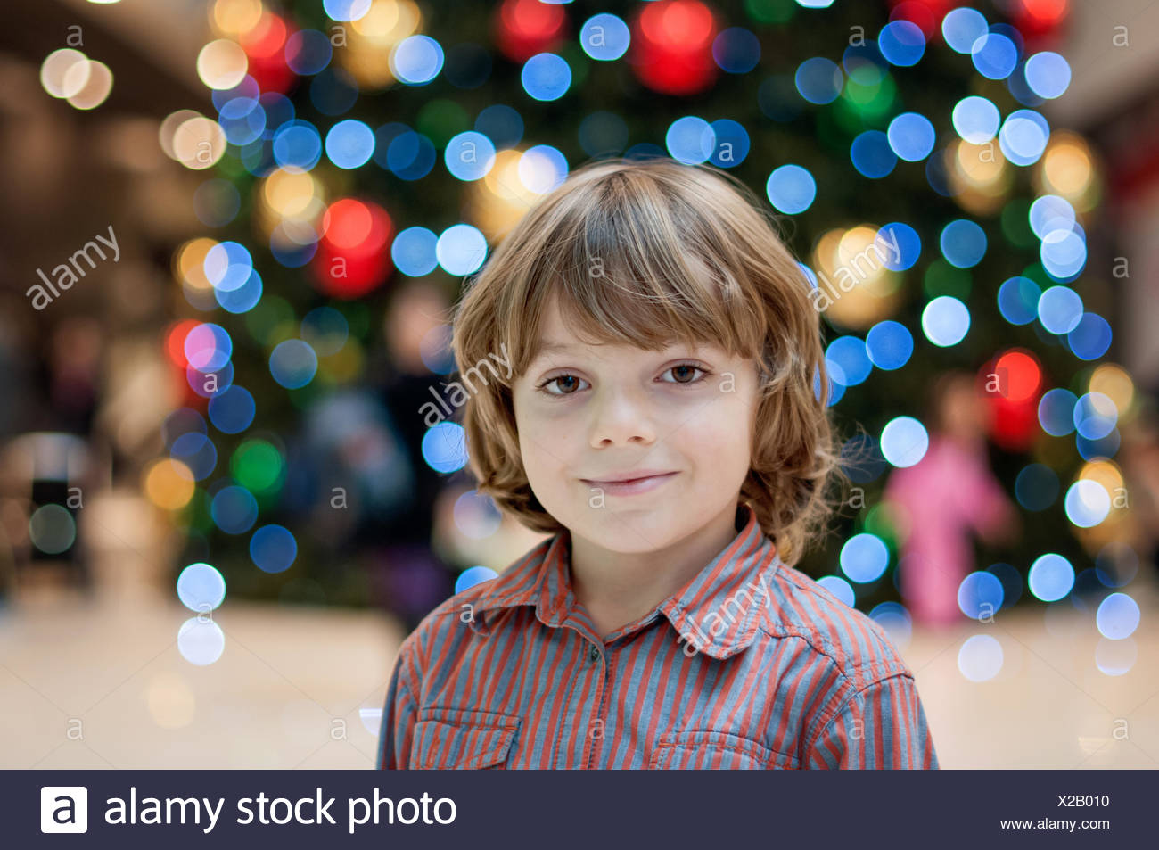 Retrato de niño rubio (6-7) Foto de stock