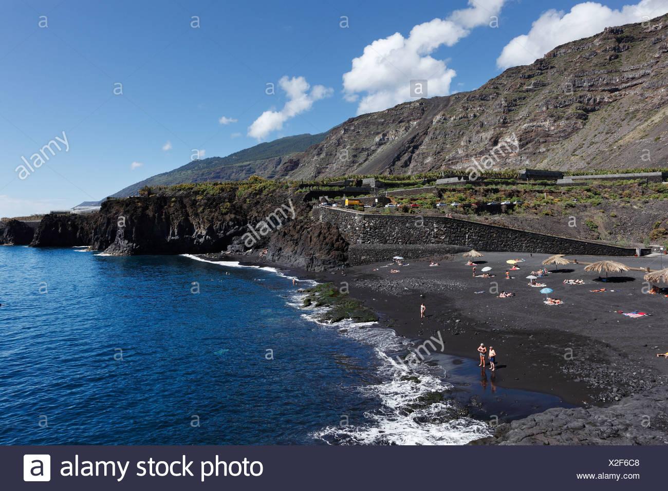 """La playa de Charco Verde, 'Paisaje Protegido del Remo"""" Reserva Natural, La Palma, Islas Canarias, España, Europa Imagen De Stock"""