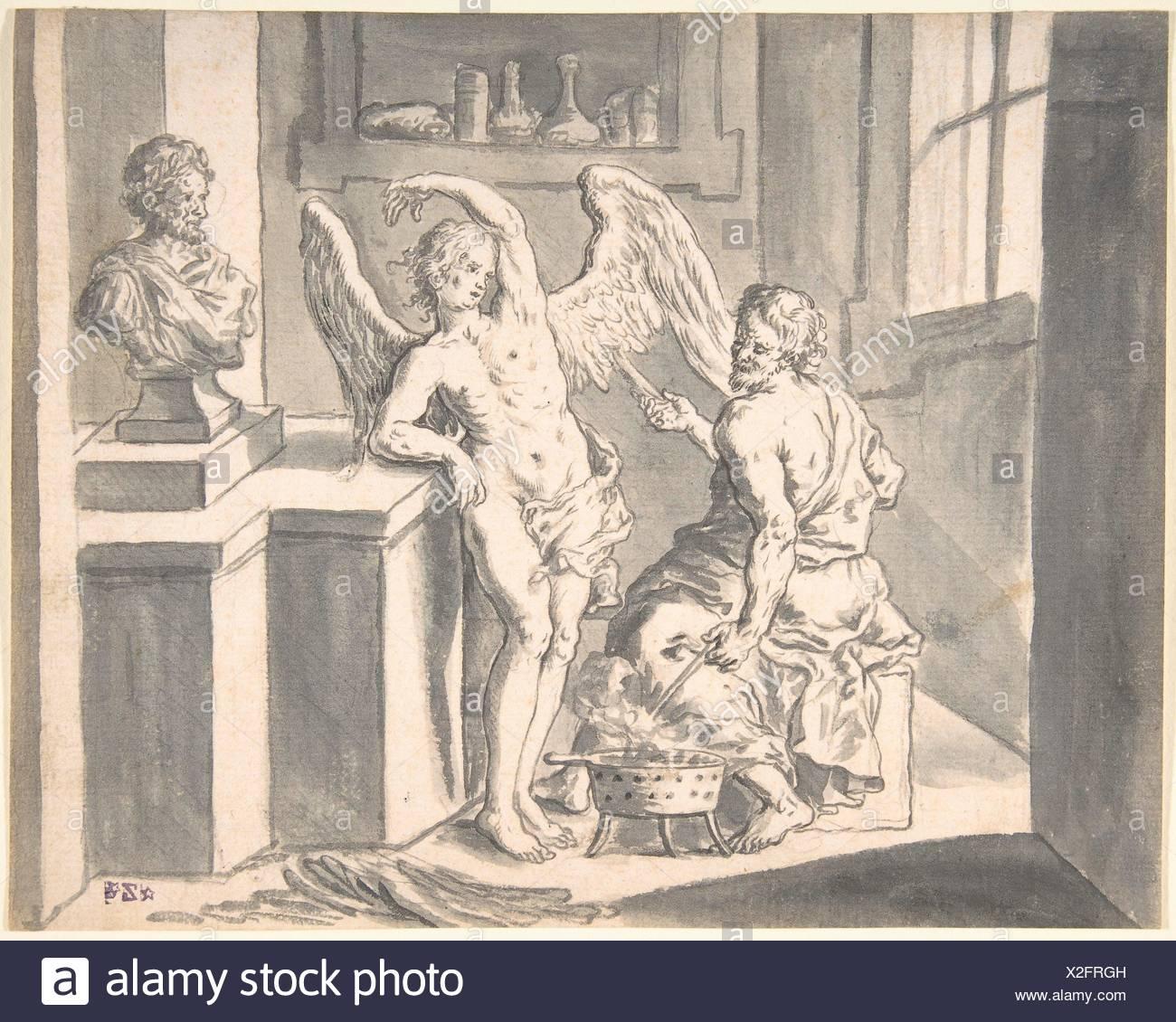 Daedalus formando las alas de Ícaro fuera de cera. Artista: Franz Xaver Littisch Wagenschön austríaco, 1726-1790 (Viena); Fecha: Siglo XVIII; media: Imagen De Stock