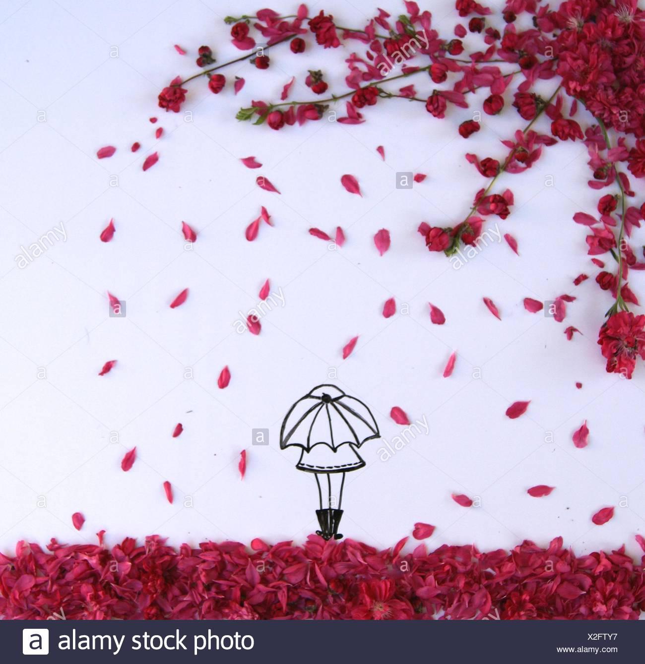 Dibujo conceptual de una chica de pie bajo un paraguas durante la primavera florecen ducha Imagen De Stock