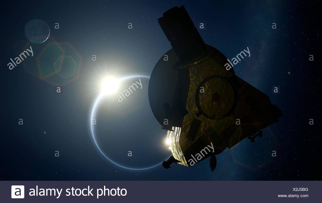 Sonda nuevos horizontes pasando Plutón, ilustración. en 2015, la sonda de la nasa New Horizons finalmente llegó a Plutón después de una década de largo vuelo. A medida que la sonda pasa el planeta enano, miró hacia el sol y fotografió Plutón con sus escasos atmósfera iluminada por el sol detrás de ella. Imagen De Stock