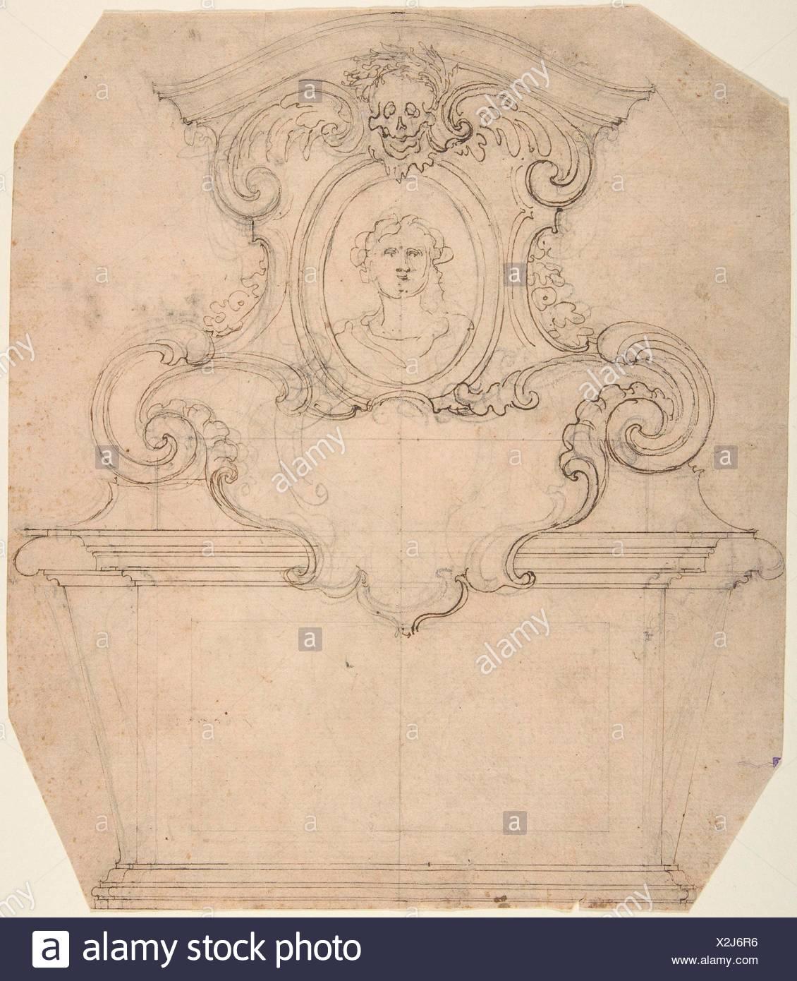Diseño para una tumba de Epitaph (anverso); una variación de una tumba inacabada o epitafio (verso). Artista: atribuido a Giovanni Battista Foggini (Italiano, Imagen De Stock