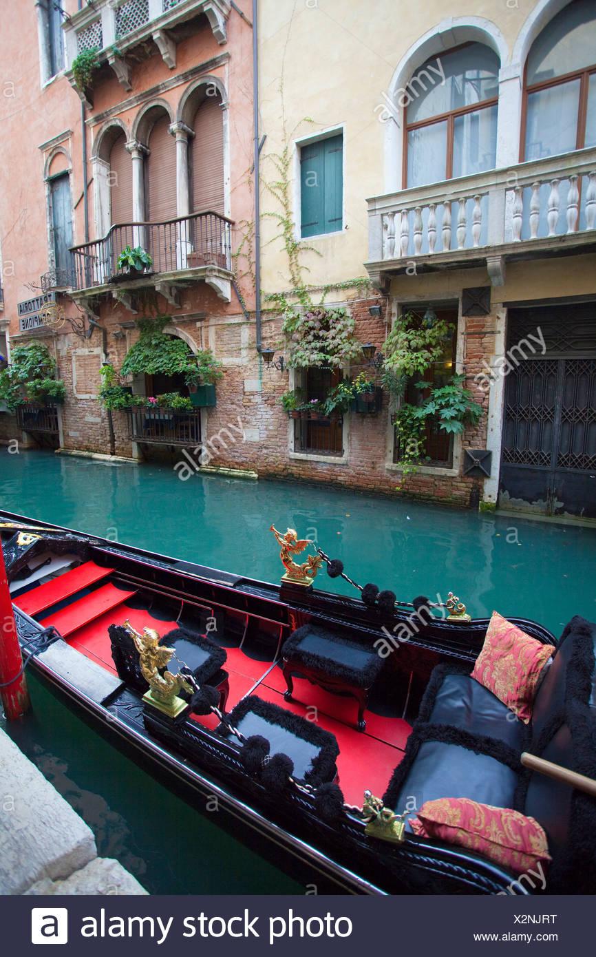 Italia, Europa, Venecia, góndola, canal, canal, barco Imagen De Stock