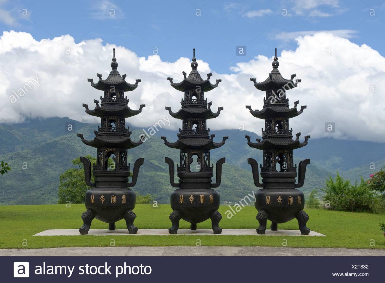 Asia, Taiwán, templo, Dong Fu Zan, East River Valley, religión Imagen De Stock