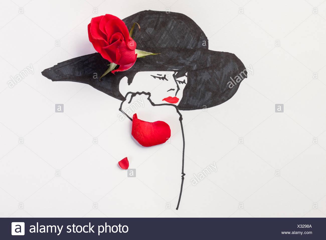 Ilustración de una mujer con un sombrero adornado con flores rojas ... 4fb183d2ce1