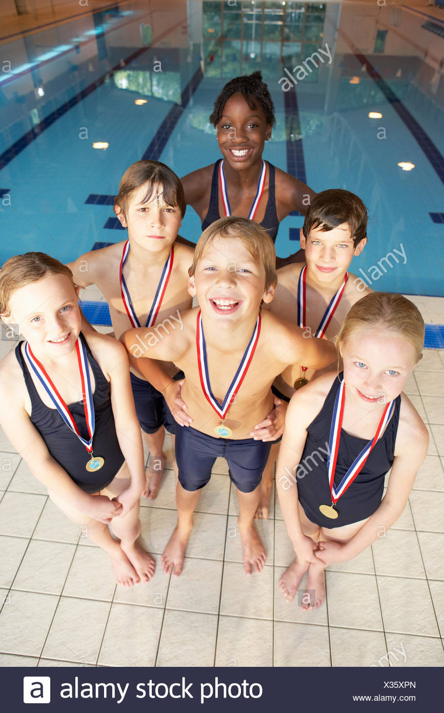 Equipo de Natación ganadora Imagen De Stock