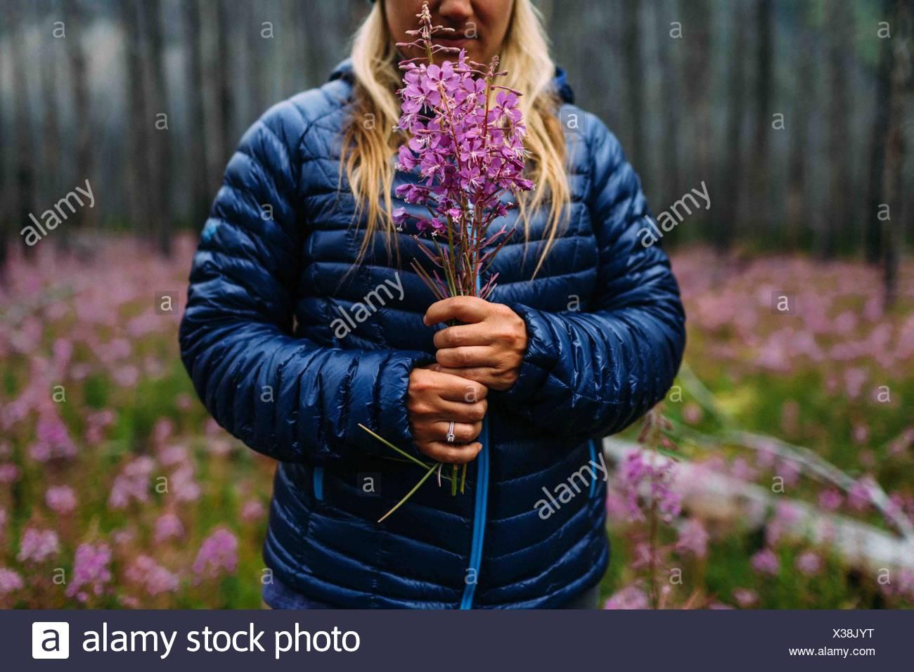 Vista recortada de mediados de mujer adulta vistiendo capa acolchada sosteniendo flores silvestres, el lago Moraine, el Parque Nacional de Banff, Alberta, Canadá Imagen De Stock