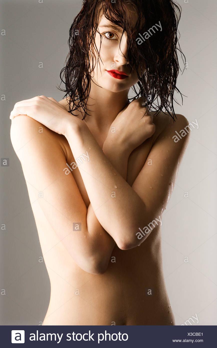 Retrato De Desnudo Caucásico Atractiva Pelirroja Mujer Joven Con El