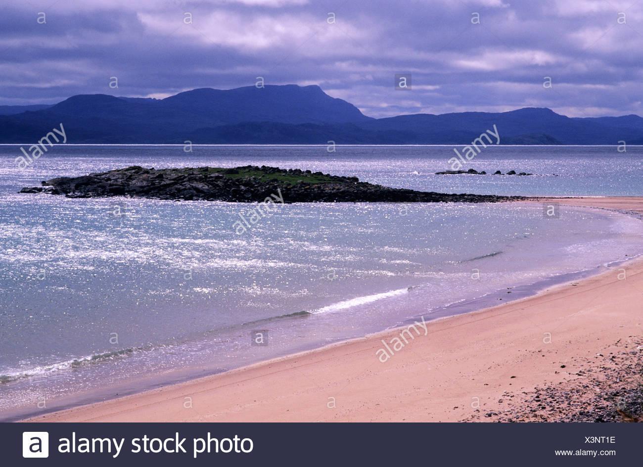 Red Point Beach West Highlands de Escocia para ver península de Applecross Wester Ross, Región de tierras altas, el mar, la costa escocesa, costeras, Foto de stock