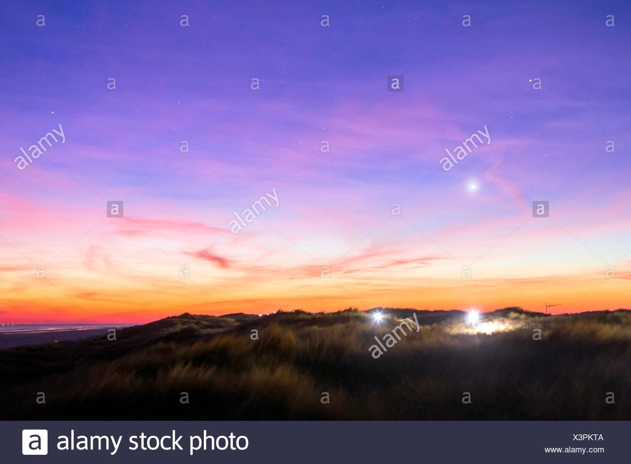 Planeta Venus sobre isla Juist, Alemania, Baja Sajonia, Juist Imagen De Stock
