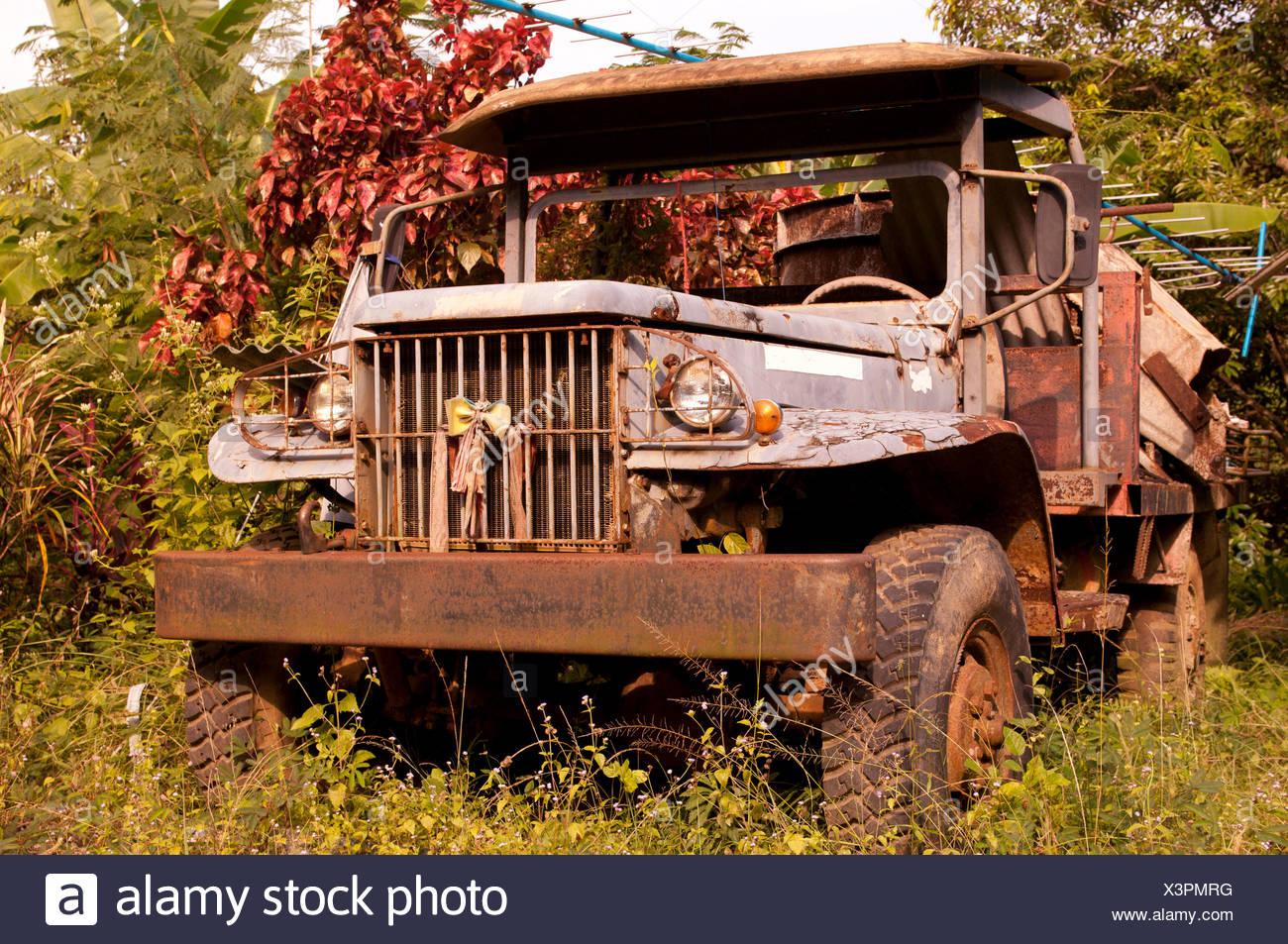 Camioneta vieja, Tailandia, Asia, rusty, fonds, antecedentes Imagen De Stock