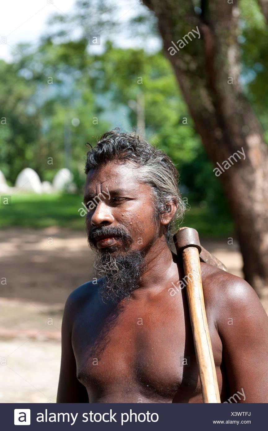 Hombre de la etnia vedda, indígenas, retrato, Mahiyangana, Sri Lanka Imagen De Stock
