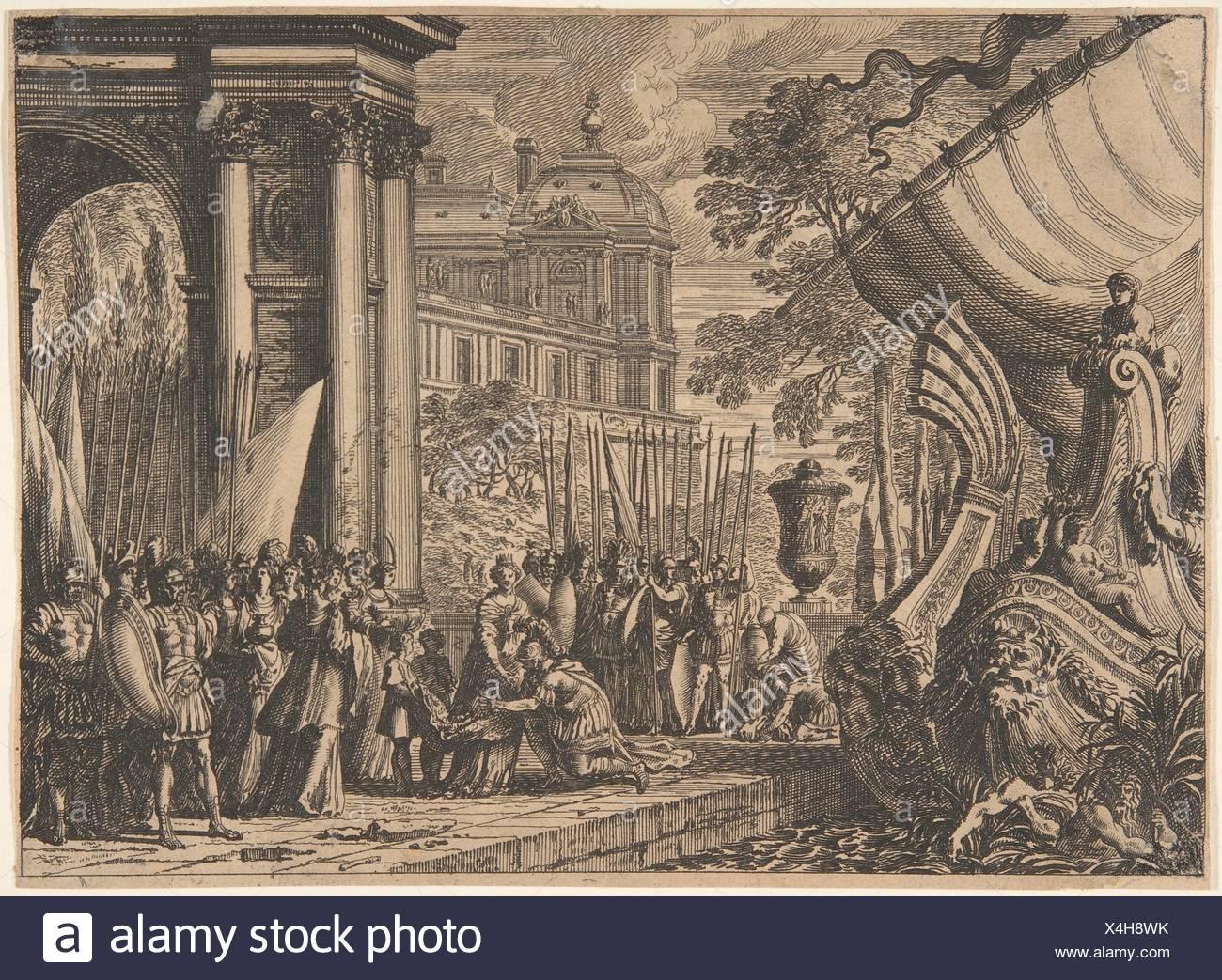 """Eneas Despedida de Dido. Artista: Jean Le Pautre (francés, París París 1618-1682); mediana: Grabado; Dimensiones: 6 1/8"""" x 8 1/4 pulg. (15,5 x 21 cm); Imagen De Stock"""